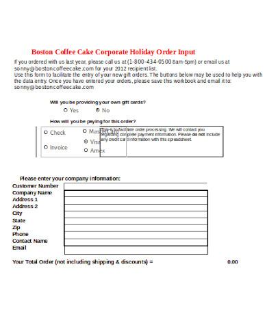 formal cake order form