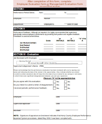 formal employee evaluation form