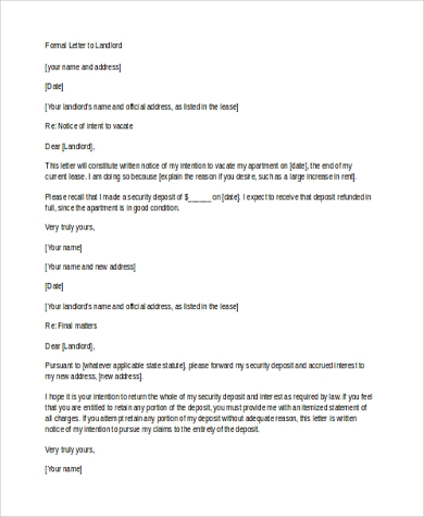 formal letter to landlord in word