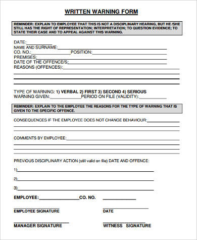 Sample Written Warning Forms - 9+ Free Documents In Word, Pdf