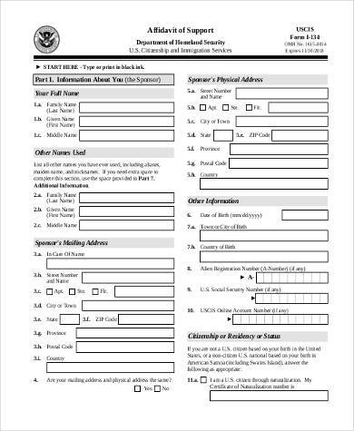 free affidavit of support form