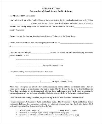 free affidavit of truth form