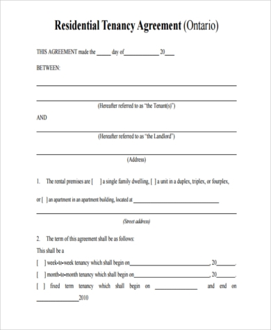 Apartment Rental Agreement Samples   Free Documents In Word Pdf