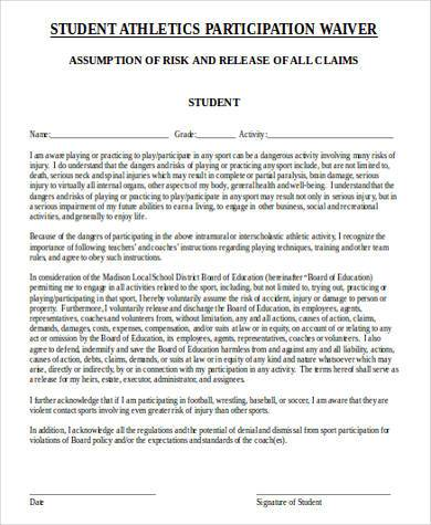 free athlete waiver form