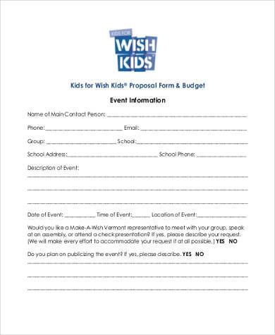 free budget proposal form