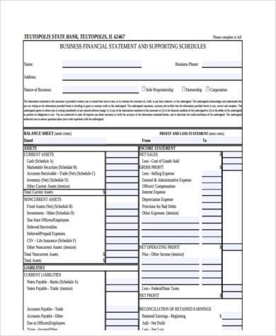 free business financial statement form1