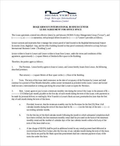 free business lease agreement form