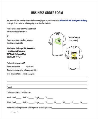 free business order form