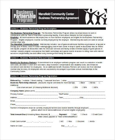 free business partnership agreement form