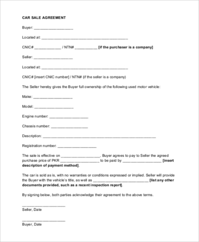 Car Sale Contract   Free Documents In Word Pdf