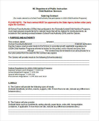Catering Contract Form Samples   Free Documents In Word Pdf