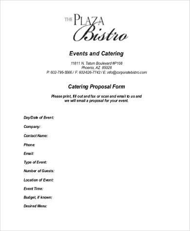 Sample Catering Proposal Forms   Free Documents In Word Pdf