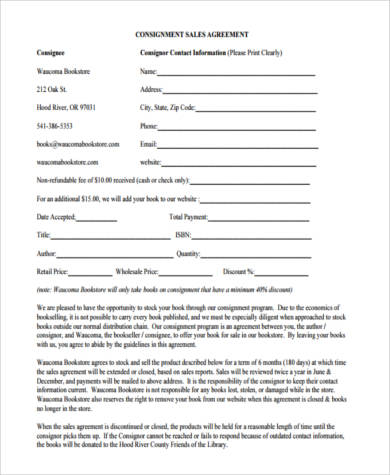 Free Consignment Agreement Form  Free Consignment Agreement
