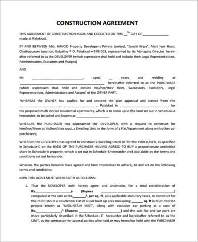 free construction agreement form