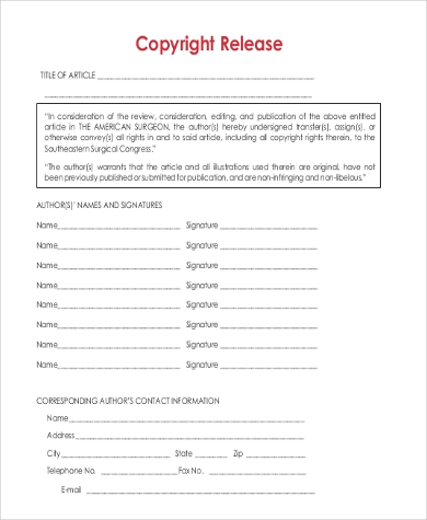 free copyright release form