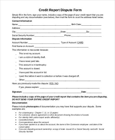 free credit report dispute form