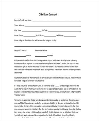 Sample Daycare Contract Forms 9 Free Documents In Word Pdf