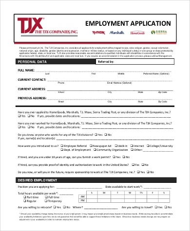 standard job application form samples 8 free documents in word pdf