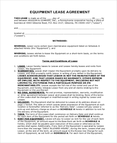Free Equipment Lease Agreement