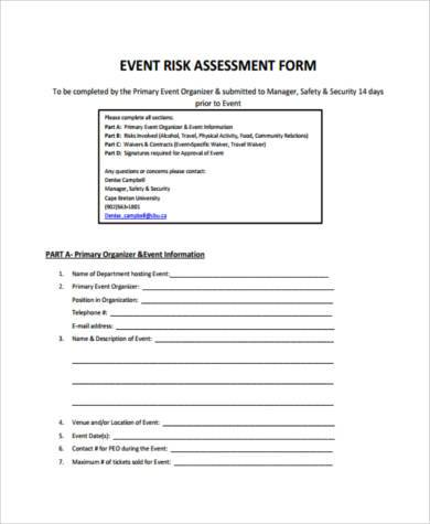 Sample Event Risk Assessment Forms - 7+ Free Documents In Word, Pdf