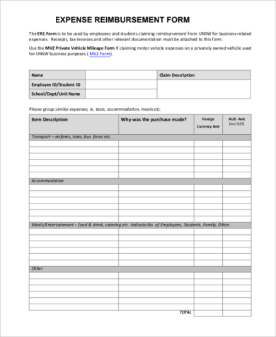 Sample Expense Reimbursement Form   Free Documents In Word