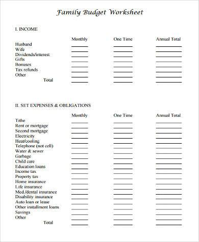 sample family budget forms 9 free documents in word pdf