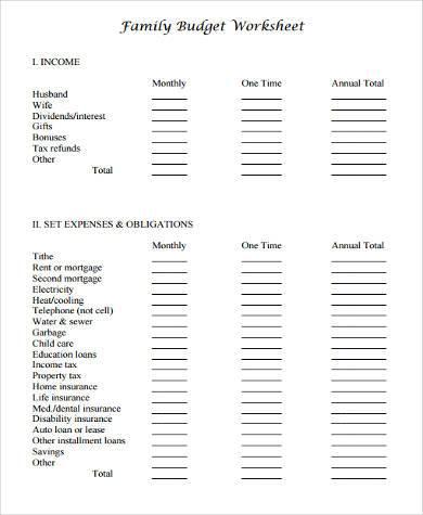 free family budget form