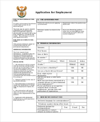 Sample Generic Application Forms For Employment   Free Documents