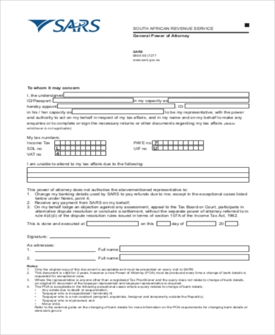 General Power Of Attorney Form Samples   Free Documents In Word Pdf