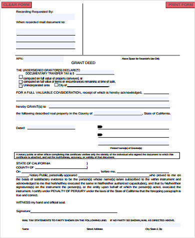 Grant Deed Form Samples - 8+ Free Documents in Word, PDF