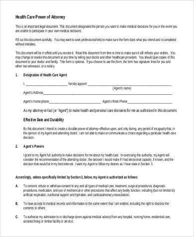 free health care power of attorney form