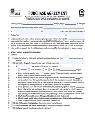 Free Home Purchase Agreement Form  Free Purchase Agreement Form