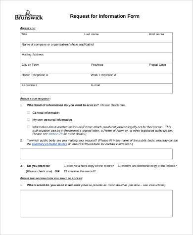 free information request form