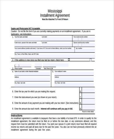 free installment agreement form1