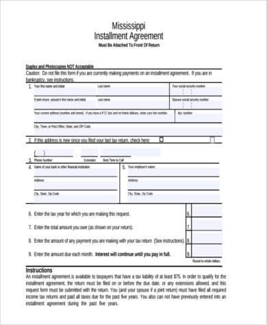free installment agreement form1