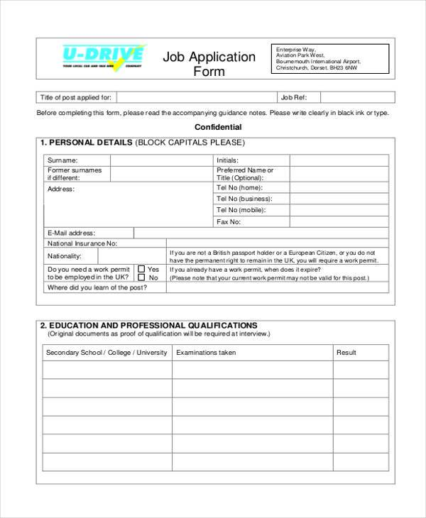 Job Application Samples  Free Sample Example Format Download