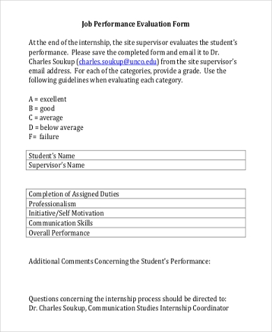 free job performance evaluation form