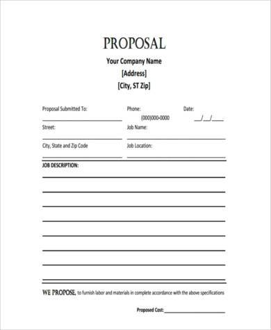 Sample Job Proposal Forms   Free Documents In Word Pdf
