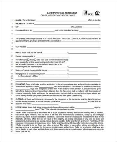 free land purchase agreement form
