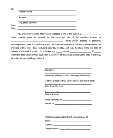 Printable Eviction Notice Form   Free Documents In Word Pdf