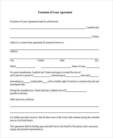 Sample Lease Extension Agreement Form   Free Documents In Word Pdf