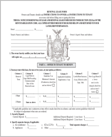 free lease renewal form