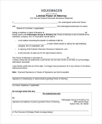 free limited power of attorney form