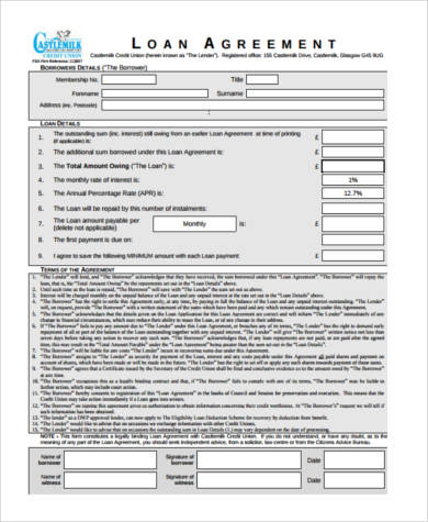 free loan contract form