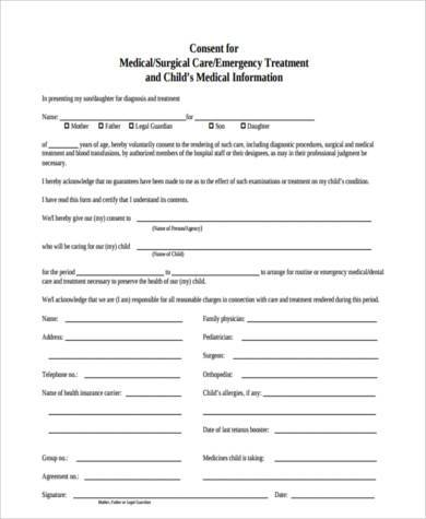 free medical permission form for child