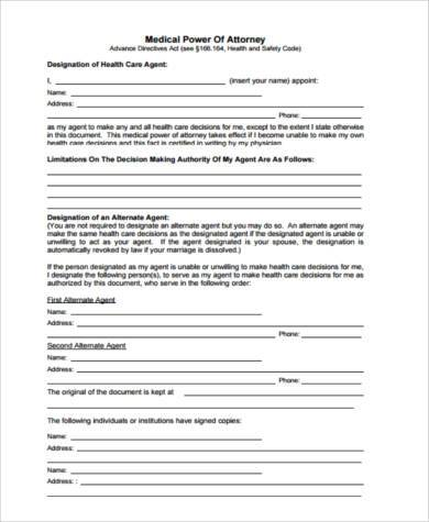 free medical power of attorney form