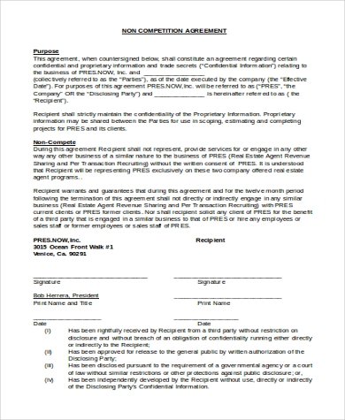 NonCompetition Agreement   Free Documents In Word Pdf