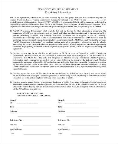 Non Disclosure Agreement Format Ibovnathandedecker