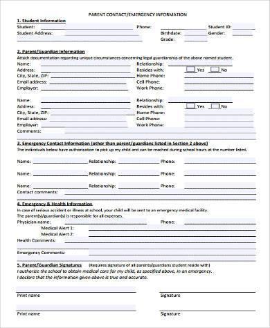 free parent contact form