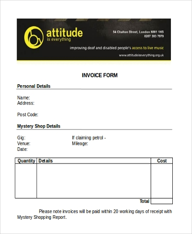 free printable invoice form